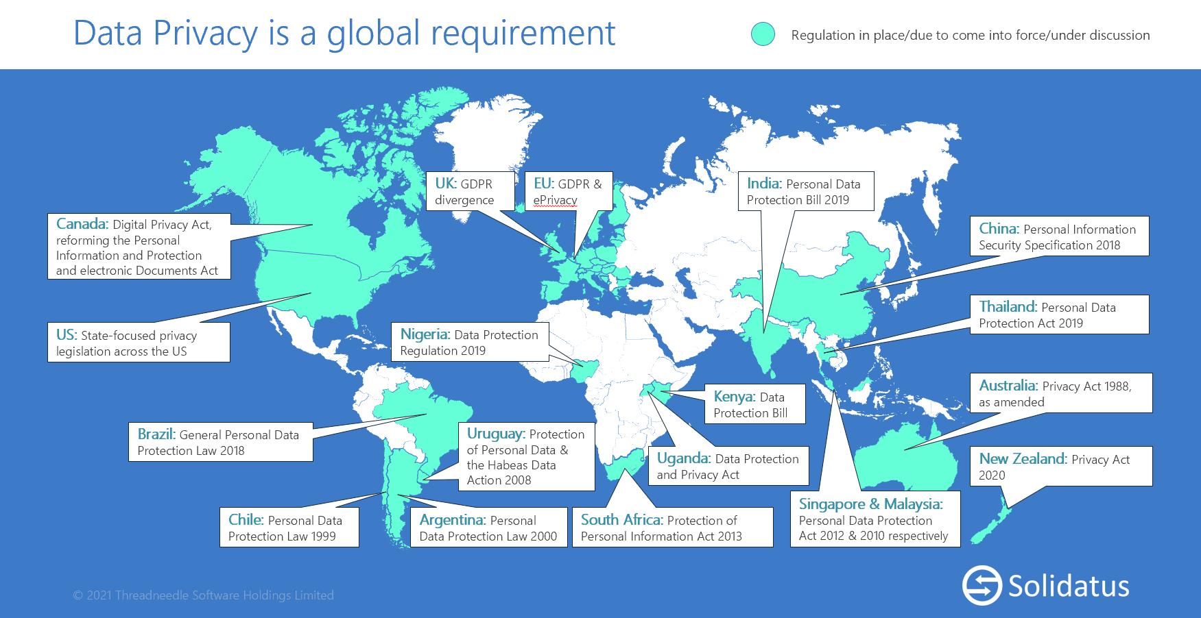 Solidatus Global Data Privacy Regulations Worldmap